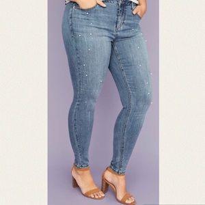 Lane Bryant Skinny Pearl Rhinestone Jeans